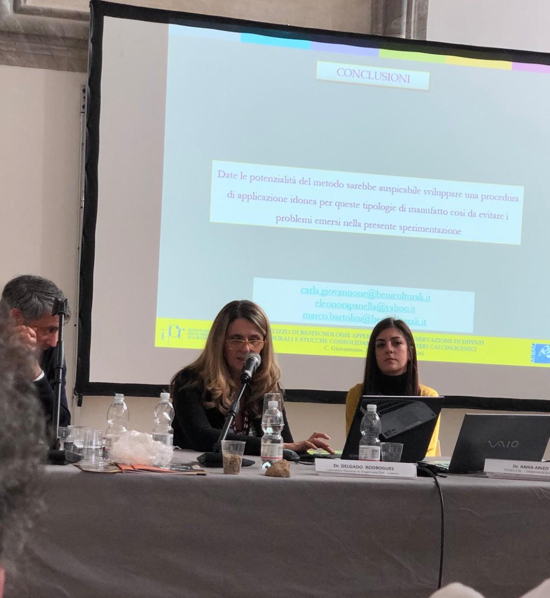 Carla Giovannone e Marco Bartolini (ISCR) - Esperienze di bio-consolidamento su materiali lapidei artificiali (1)